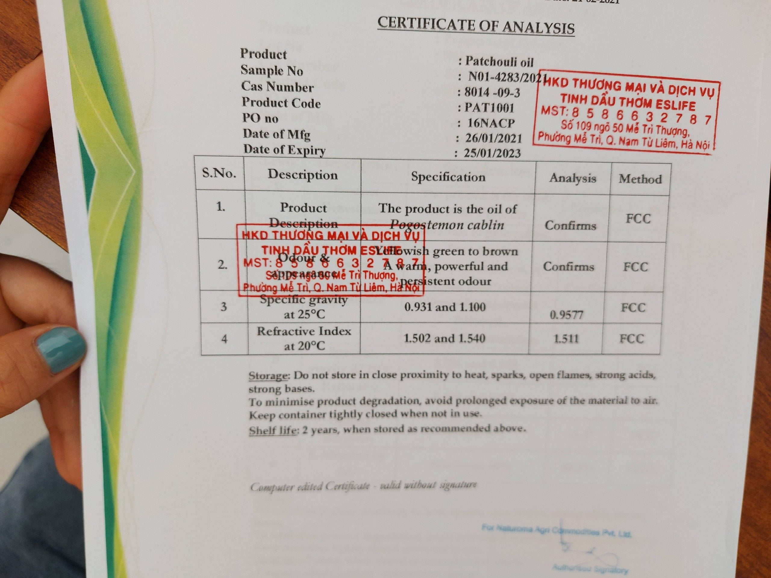 Phiếu kết quả thử nghiệm Tinh Dầu Hoắc Hương( test tinh dầu Tinh Dầu Hoắc Hương) ( coa ) Certificate of Analysis - Patchouli Essential Oil
