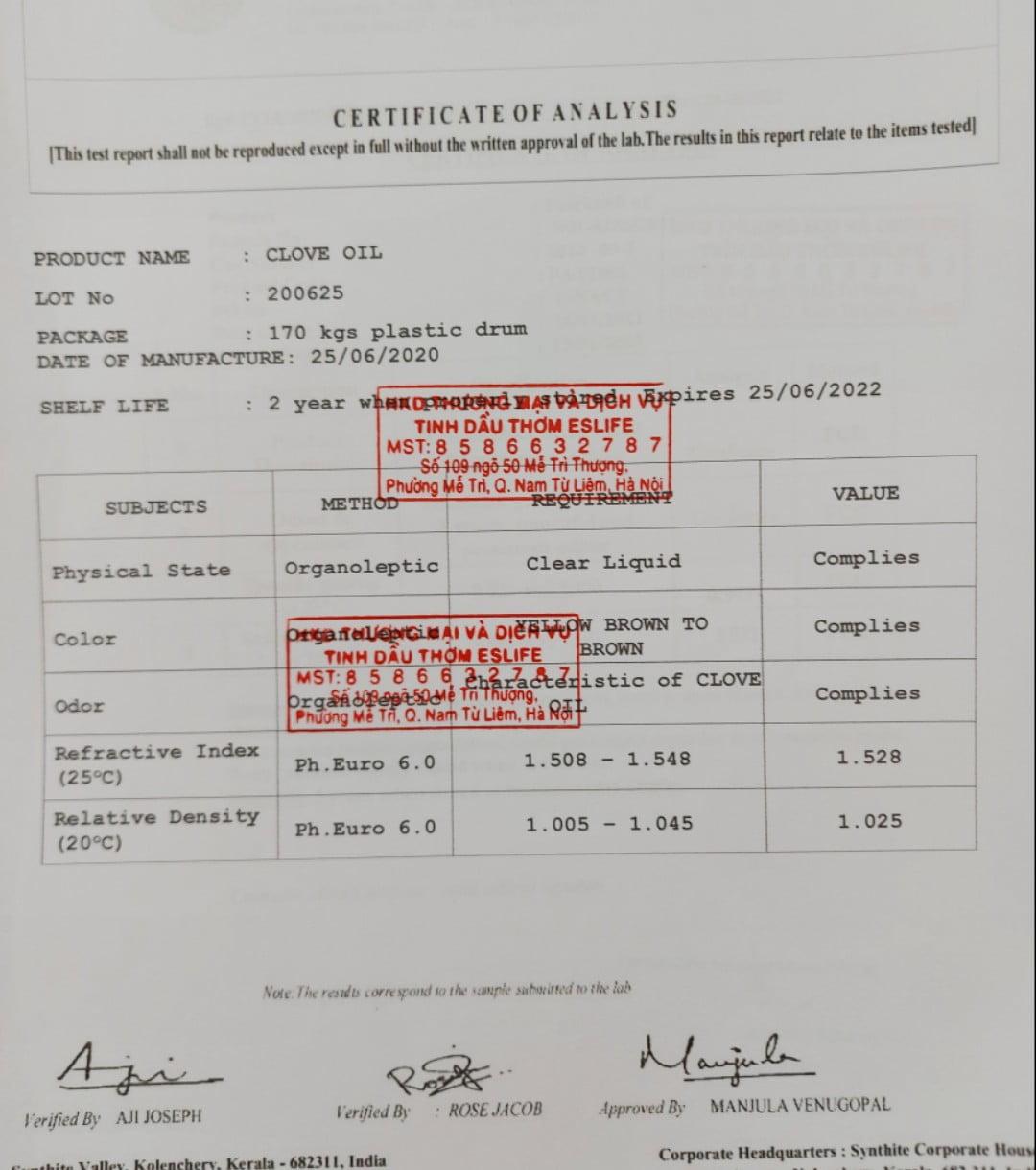 Phiếu kết quả thử nghiệmTinh dầu đinh hương ( test tinh dầu) ( coa ) Certificate of Analysis Clove Oil