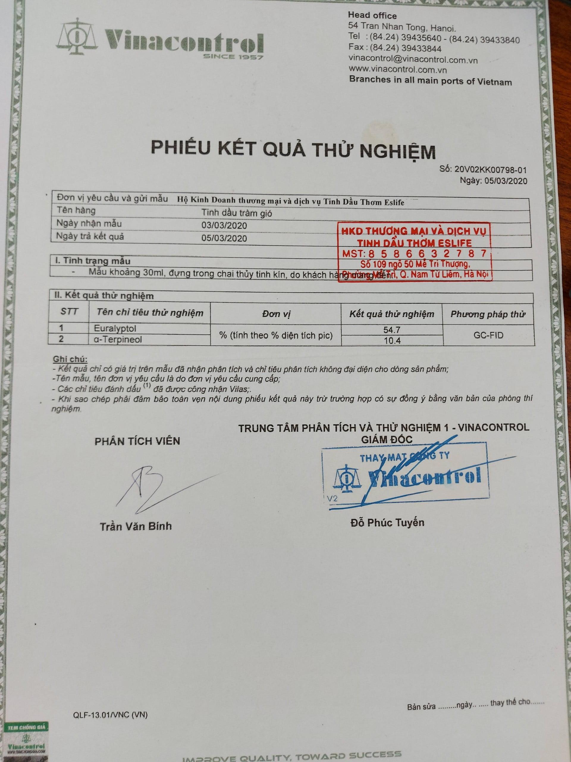 Phiếu kết quả thử nghiệm tinh dầu tràm GIÓ VIỆT NAM ( test tinh dầu) (kiểm nghiệm tinh dầu)
